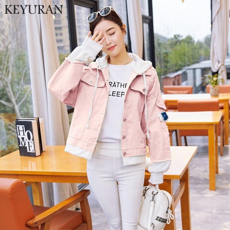 Boyfriend Harajuku style Hooded Jacket Denim Coat Women Frayed Trim Jean Jackets 2018 Autumn Loose Casual Patchwork Jacket