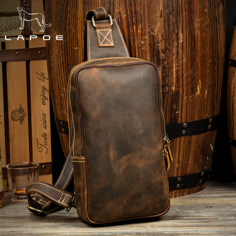 LAPOE Casual Zipper Open Crazy Horse Leather Mens Chest Bags Fashion Travel Crossbody Bag Man Genuine Leather Messenger Bag jeep famous brand men chest bags theftproof magnetic button open fashion leather travel crossbody bag man messenger bag 8005