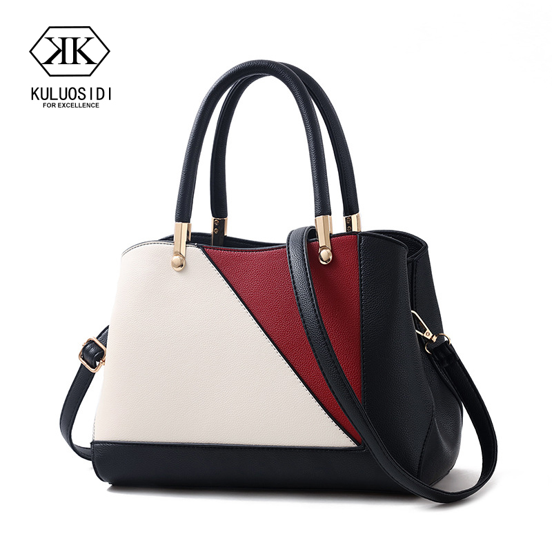 Patchwork Women Leather Hanbags Messenger Bags For Women 2018 Sac a Main Femme Contrast Color Women Hand Bags