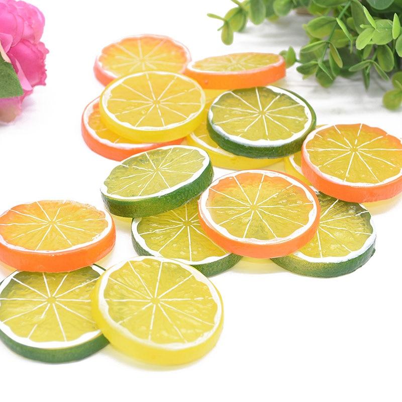 5/10pcs 5cm Artificial Fruit Simulation Lemon Slices Christmas Fruit Ornament Kitchen Wedding Fake Lemon Decoration Supplies 7z