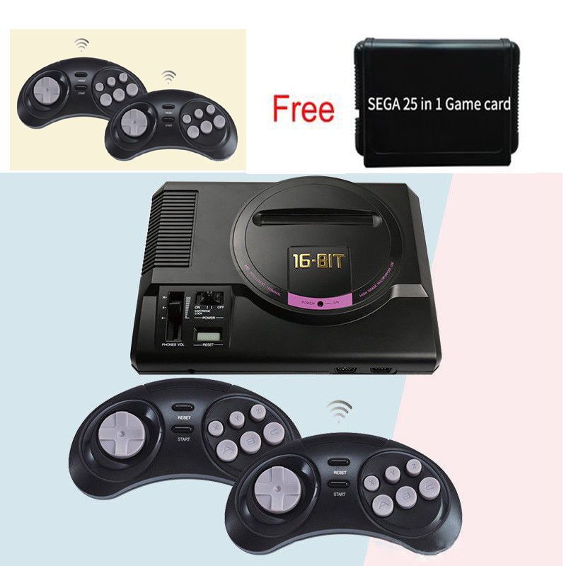 Wireless HDMI AV version for sega 16 bit tv video game console for sega megadrive game consolewith free 25 sega game cartridge game cartridge fire shark for 16 bit sega megadrive genesis game console
