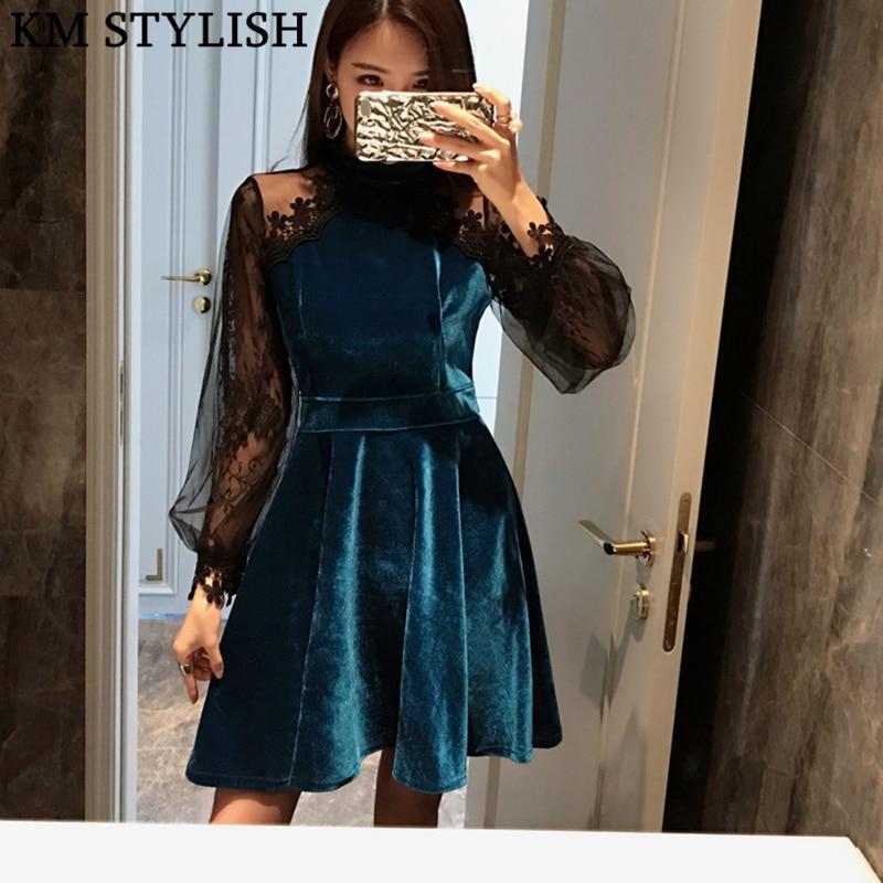 2018 New Autumn Women's Lace Panel Gold Velvet Long Sleeve Lantern Sleeve Perspective Dress Female Black & Blue Color