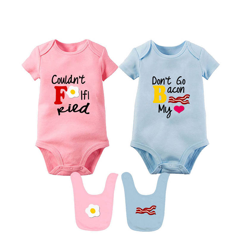 YSCULBUTOL Baby Bodysuits For Unisex Boys Girls White Twin Short Sleeve Clothes Baby Shower Gift Don't Go Bacon My Heart I Could