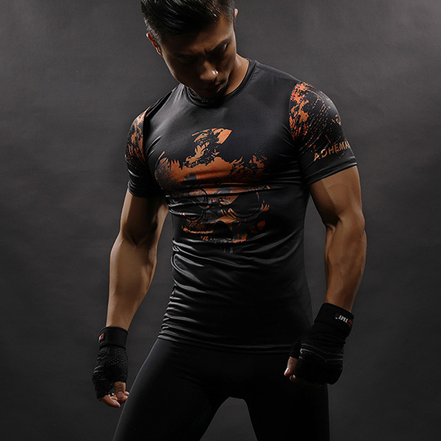 3D Printed Compression Ghost Tee Shirt Men T-shirts Short Sleeve Cosplay Fitness Body Building Male Crossfit Tops Skull Skeleton