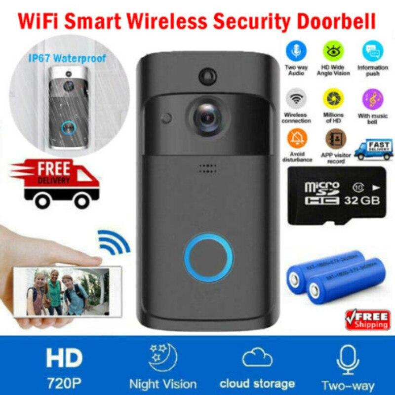 WiFi Wireless Video Doorbell Two-Way Talk 32G Smart Door Bell Security Camera HD