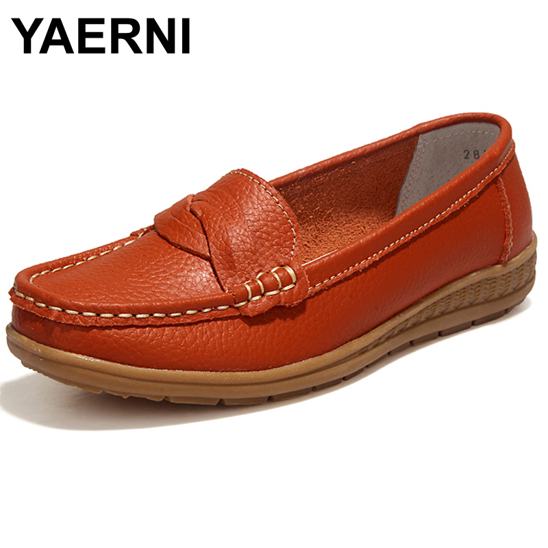 YAERNI Shoes Woman 2017 Genuine Leather Women Shoes Flats 4Colors Loafers Slip On Women's Flat Shoes Moccasins #WD2856 yaerni fashion loafers women shoes genuine leather shoes handmade soft comfortable flat shoes woman casual shoes women flats