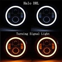 2Pcs 7 인치 LED 헤드 라이트 램프 H4 H13 Hi Lo Halo 천사 눈 Lada 4x4 도시 Niva 지프 JK 랜드 로버 수비수 Hummer