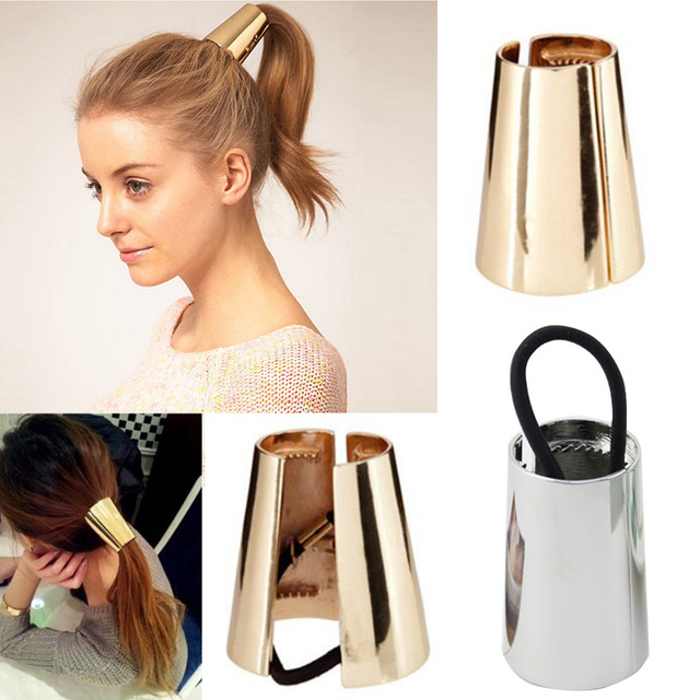 Metal Mirrored Celeb Chic Style Round Hoop Cuff Wrap Girls  Ponytail Holder  Ring Hair Bands Women Hair Tie 03ecc3cbfa53