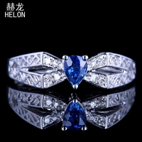 Твердые 10 К БЕЛОЕ ЗОЛОТО ПРИРОДНЫЙ SI/H алмазы сапфир Fine 4x5 мм Груша обручальное кольцо Обручение элегантный Драгоценное кольцо Fine Jewelry