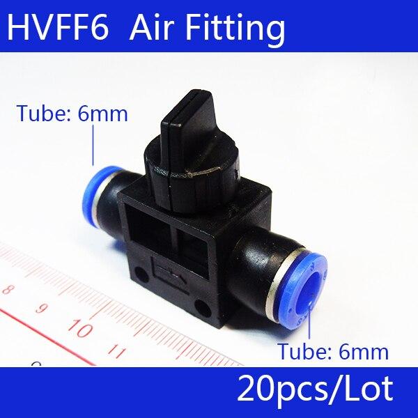 Pneumatyczny zawór sterujący przepływem HVFF6; złącze węża do węża; rura 6mm * rura 6mm; 20 sztuk/partia; darmowa wysyłka; dostępne we wszystkich rozmiarach w Części pneumatyczne od Majsterkowanie na AliExpress - 11.11_Double 11Singles' Day 1