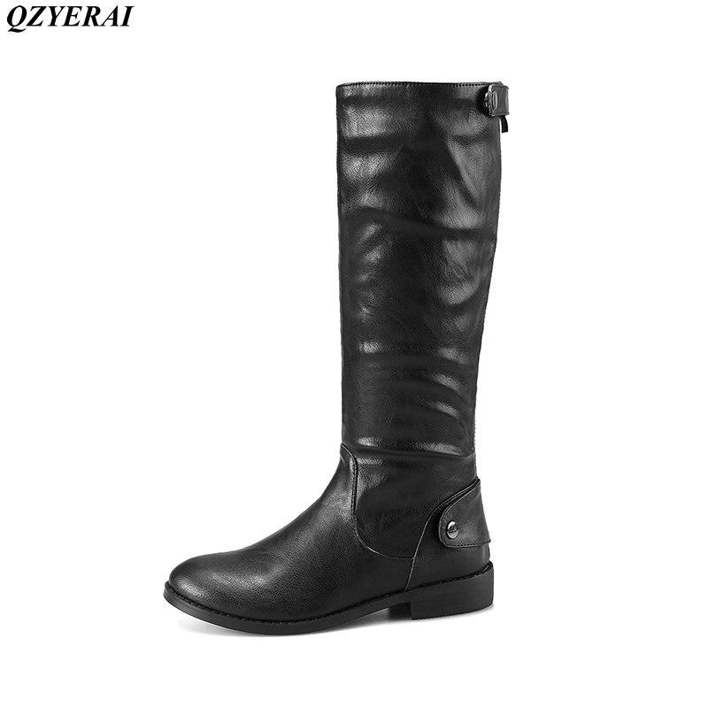 Qzyerai 2018 Новое поступление в осень до середины икры сапоги для верховой езды модная женская обувь на молнии на низком каблуке сексуальный сти...