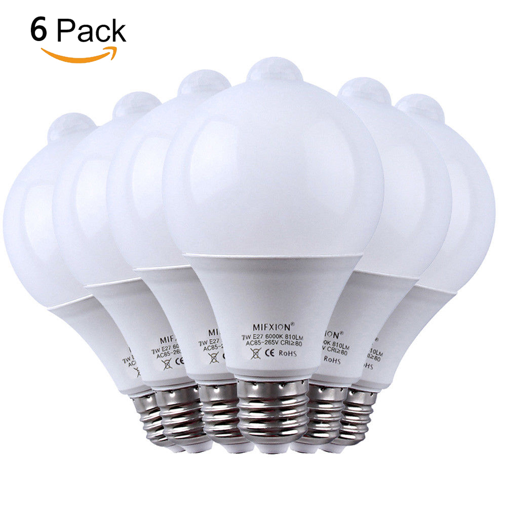 6PCS PIR Motion Sensor LED Lamp+Light Control LED Bulb Auto Infrared Sensor LED Energy Saving Bulbs for Stairs Lighting E27