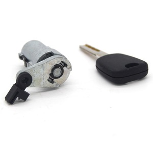 Image 4 - Barril da fechadura da porta esquerda com uma chave com ranhura para peugeot 307