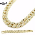 "Miami Cuban Link Chain Gold Plated Fully Iced Out Hip Hop Bling 2016 Hot Sale 15mm 30"" Iced Out Hip Hop Chain & 8.5"" Bracelet"