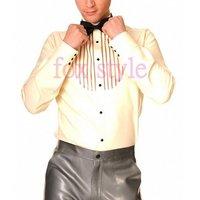 Для мужчин мужской латекс рубашка одежда Гар Для мужчин t