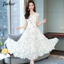 Jielur Chiffon Dress Women Summer Short Sleeve Floral Print Boho Slim Vacation Asymmetry White Dresses Elegant Vestidos