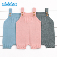 2017 Autumn Baby Girls Knit Romper Pink Toddler Infant Sleeveless Jumpsuit Super Soft Newborn Boys One