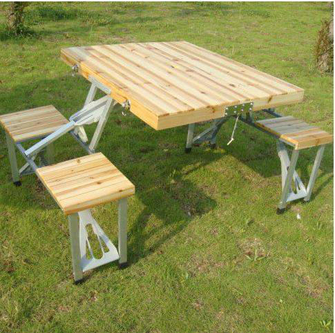 Table d'extérieur pliante en bois massif Table de Camping Table de pique-nique Table à manger avec parapluie 2.4 m