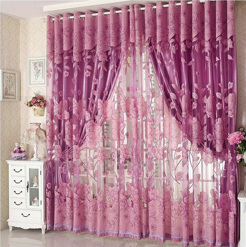 Aliexpress.com : Buy Luxury Window Curtains For Living Room Blackout Curtain+Tulle  For Hotel Window Treatment Beaded Red/Purple/Brown/Grey From Reliable ... Part 76