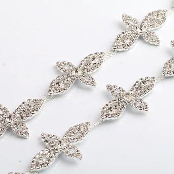 5Yards/lot four leaves silver plated rhinestone crystal trim for wedding dresses