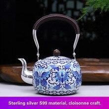 pure Silver 999 pot Pure Handmade Cloisonne Fetal  Filigree Ename Enamel Kungfu Tea set