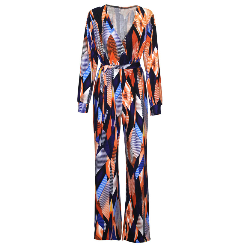 90439d1f9a65 2017 Womens Jumpsuit Summer Fashion Long Sleeve Maxi Overalls Deep V Neck  Belted Wide Leg Jumpsuit Long Pant Elegant Jumpsuits-in Jumpsuits from  Women s ...