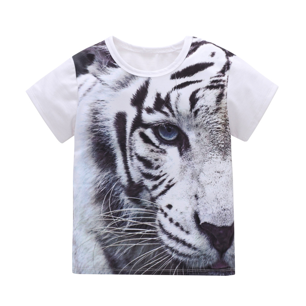 Boys T-Shirts Tops Tiger-Print Baby-Boy Kids 2-7-Years Children Summer Short-Sleeve Cotton
