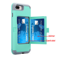 Фотография PENGWEISHENG Makeup Mirror Case For iPhone 7 for iphone 7 Plus Wallet Card Protector case Phone Cover For iphone 7plus