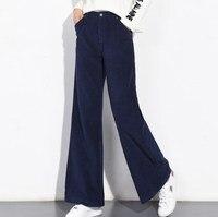 Осень Зима для женщин s широкие брюки вельветовые брюки для девочек расклешенные до середины талии, свободные вельветовые мотобрюки Белл