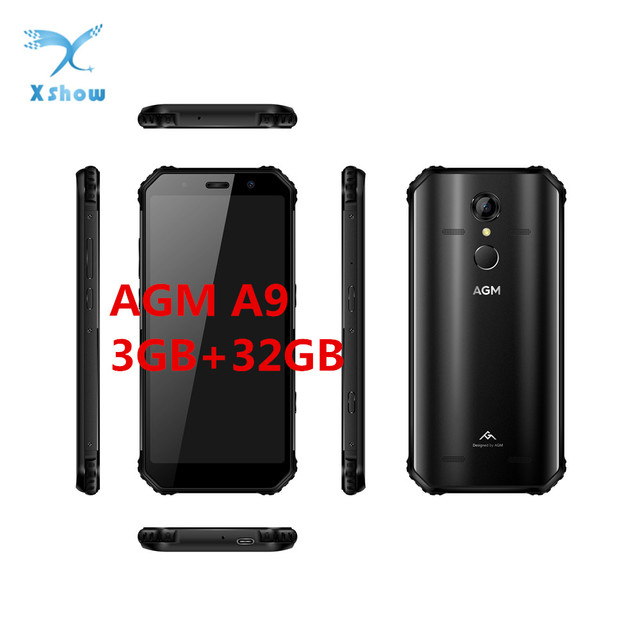 Rugged Smartphone AGM A9 3GB RAM 32GB ROM 5.99inch 18:9 Snapdragon 450 NFC Front 16MP Rear 12MP Fingerprint 5400mAh Cell phones