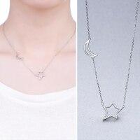 Autentyczne 925 Sterling Silver Naszyjnik Proste Moon Star Kryształ Naszyjniki Fit Kobiety Wesele Naszyjniki Biżuteria