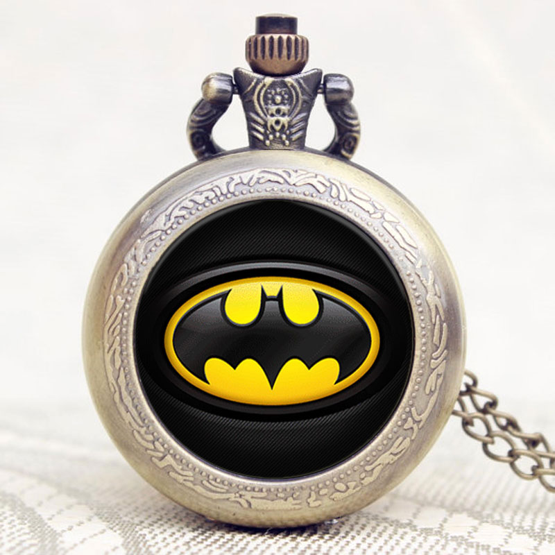 High Quality Retro Vintage Bronze Steampunk Batman Pocket Watch Necklace Mens Jewelry Hot Selling P1149 new necklace 2017 popular drop fine jewelry angel wing charm golden snitch pocket watch men vintage