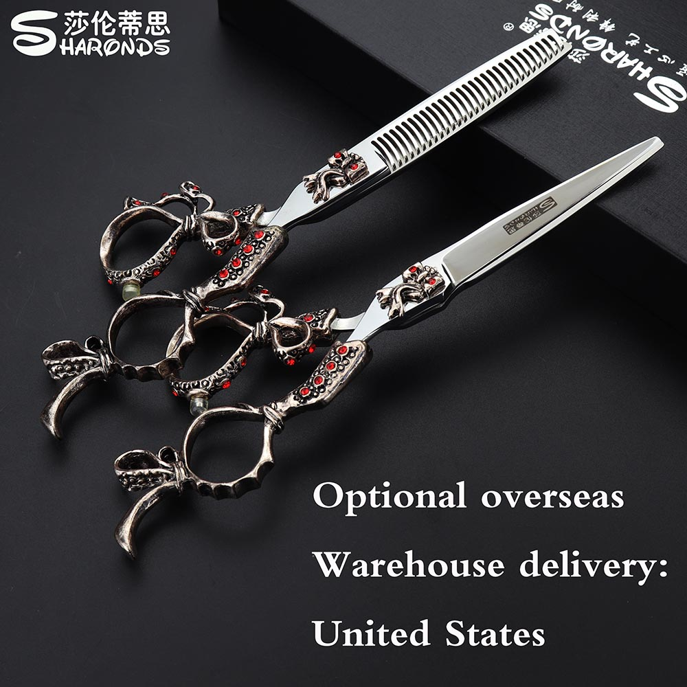 Sharonds Barber Scissors 6 Inch Japan 440c Professional Hairdressing Scissors Hair Scissors Cutting Thinning Scissors 6 inch high quality professional hair scissors japan 440c stainless steel cutting scissors thinning scissors