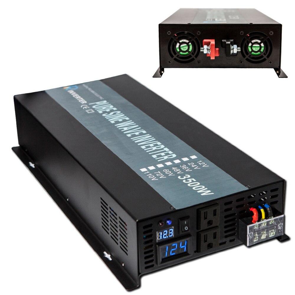 Чистая синусоида Инвертор 12 220 3500 Вт солнечный инвертор автомобиль Мощность инвертор 12 В/24 В ~ 120 В/220 В AC Напряжение Конвертеры инверторы