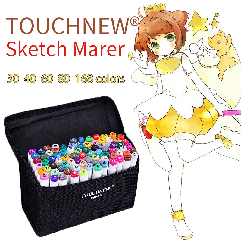 TOUCHNEW 30/40/60/80 Color Art Markers Set Material For Drawing Alcoholic Oily Based Marker Manga Dual Headed Brush Pen touchfive marker 60 80 168 color alcoholic oily based ink marker set best for manga dual headed art sketch markers brush pen