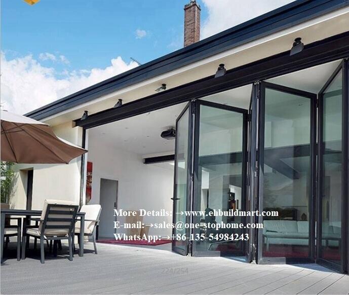 Aluminium Double Glass Folding Door For Entrance,Heat Insulation Waterproof Thermal Break Aluminum Folding Door