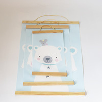 C скандинавский стиль детская комната декоративный холст плакат с деревянной рамкой прокрутка живопись настенный плакат комната стены Иск...