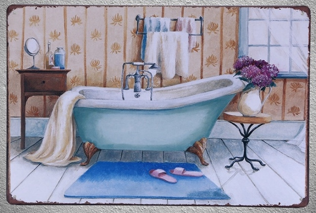 1 Pc Bath Shower Sauna Massage Relaxation Jacuzziani Tin Plate Sign