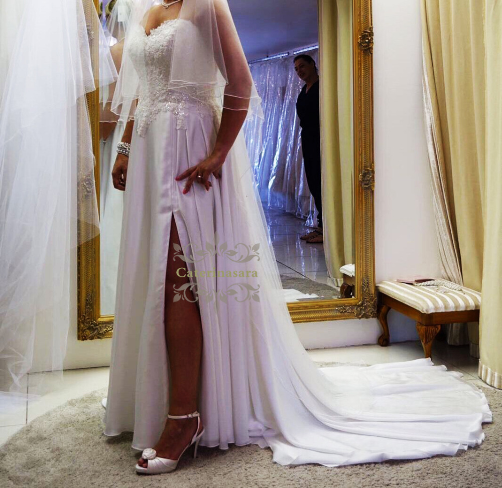 A Line Strapless Floor Length Wedding Dresses Beaded Made To Measure with Beading Appliques Bride Gowns Plus Size in Wedding Dresses from Weddings Events