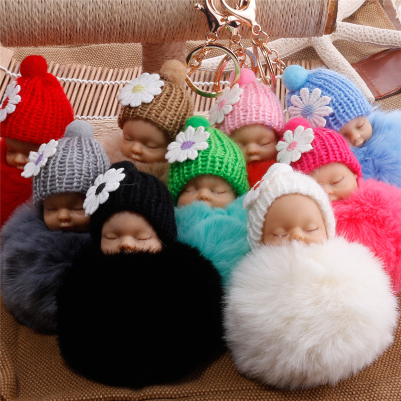 Sleeping Baby Doll Keychain Flower Pompom Rabbit Fur Ball Key Chain Fluffy Car Keyring Porte Clef Bag Key Ring Llaveros Chaveiro