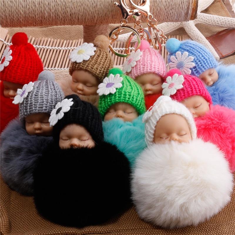 Sleeping Baby Doll Keychain Flower Pompom Rabbit Fur Ball Key Chain Fluffy Car Keyring Porte Clef Bag Key Ring Llaveros Chaveiro
