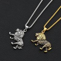 Black Crystal Lion Necklace For Women Men Gold Silver Color Lions King Pendant Animal Jewelry Africa
