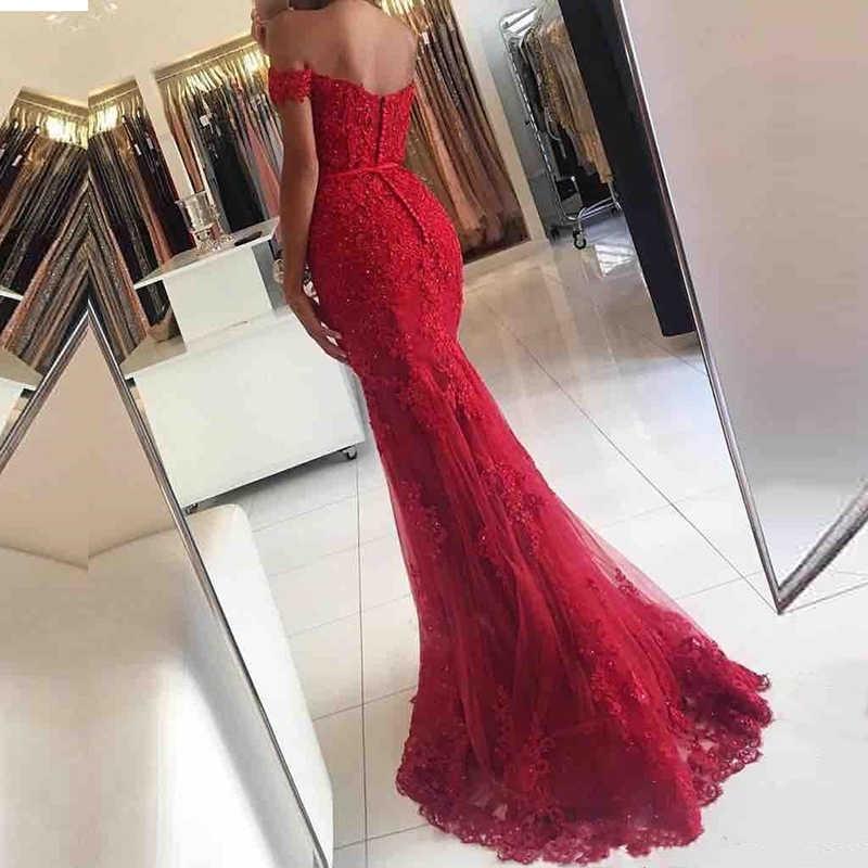 AE108 Off The Shoulder Vestido Longo Sereia Vestido de Noite 2018 Lace Robe De Soiree longue Vestido Formal abiye gece elbisesi