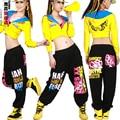 ¡ Caliente! Moda de nueva Marca Jazz harén mujeres pantalones de hip hop danza pantalones doodle de primavera y verano flojos calle pantalones de chándal