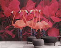 Beibehang Classic Fashion Wallpaper Red Tropical Plant Leaves Flamingo Background Wall Painting Papel De Parede 3d