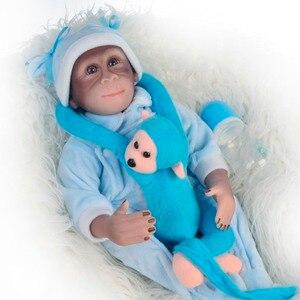 Nova 46 cm handmade renascer Boneca macaco Macaco bonecos de vinil de silicone muito macio Cosplay Macacos bonecos Colecionáveis presente
