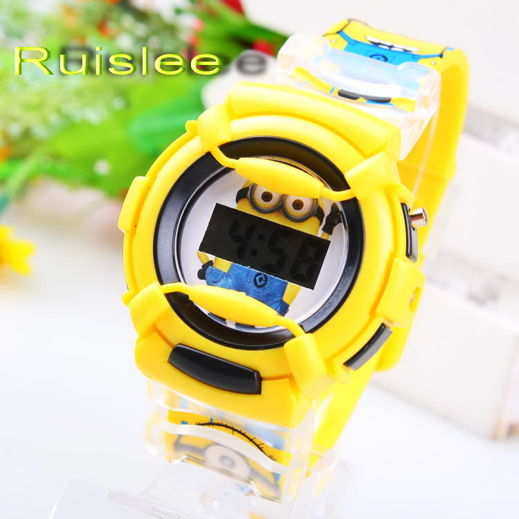 HOT !New arrival Minions Watch Children 3D Eye Despicable Me Minion Fashion Cartoon digital kids Wrist Watch