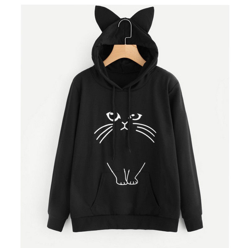 2018 95% Cotton Meow Print Women Hoodie Cat Sweatshirt Casual Funny Shirt For Lady Top Tee Hipster Sudaderas Mujer