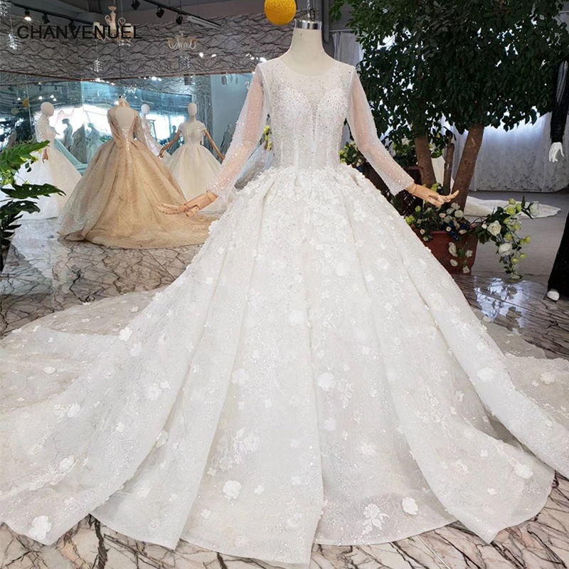 Htl256 Heavy Handmade Wedding Dresses Illusion O Neck Long Tulle
