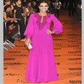 NUEVAS Mangas Largas de Cuentas Elegnt Fucsia Gasa Vestidos de Noche Vestidos de la Alfombra Roja Vestidos de La Celebridad Por Encargo Vestidos De Fiesta